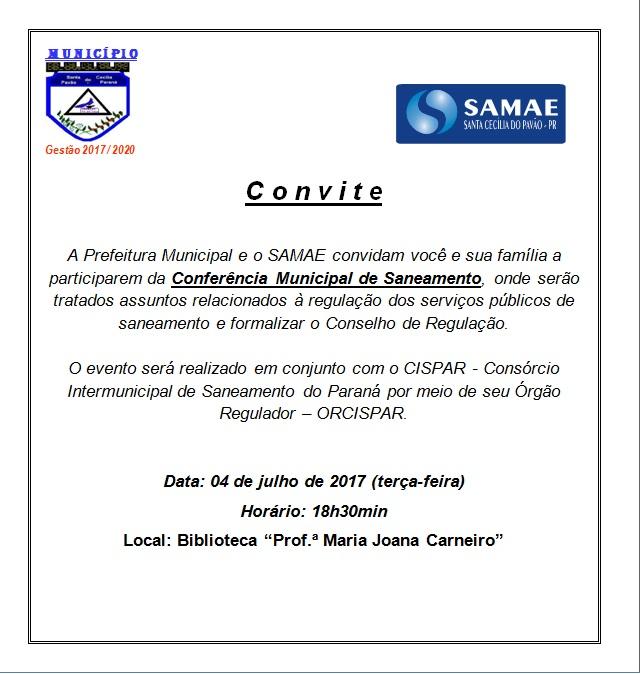 CONVITE - CONFERÊNCIA MUNICIPAL DE SANEAMENTO