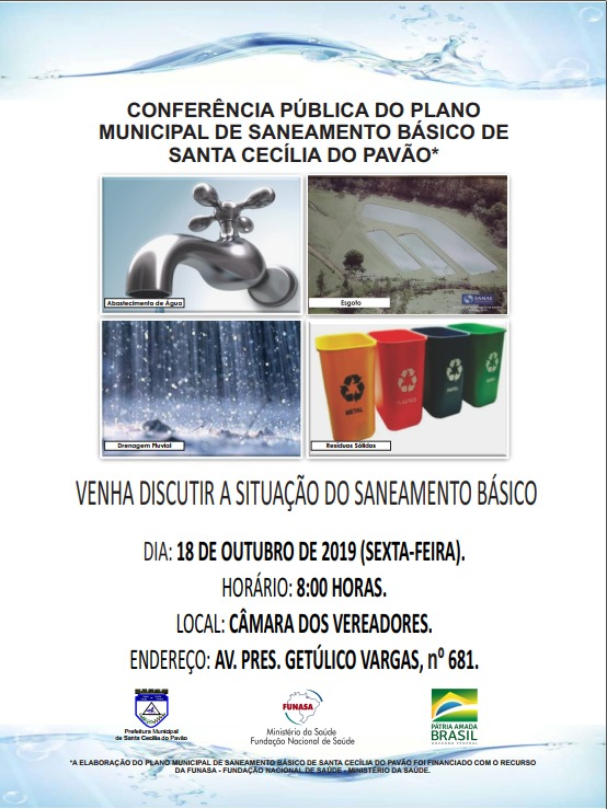 CONVITE - CONFERÊNCIA PÚBLICA DO PLANO MUNICIPAL DE SANEAMENTO BÁSICO